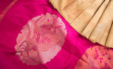 Beige & Pink Pure Kanchipuram Handloom Silk Saree