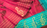 Maroon & Turquoise Blue Pure Kanchipuram Handloom Silk Saree