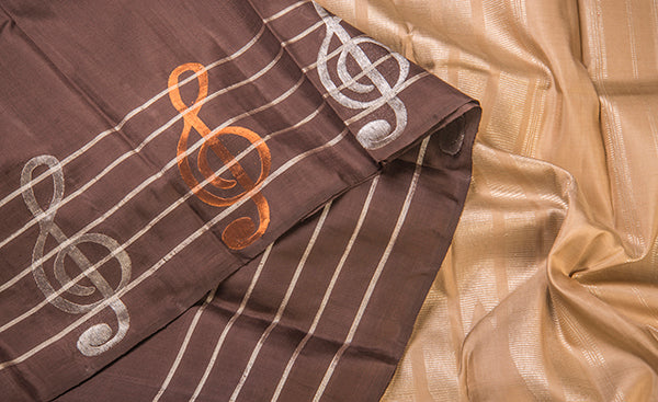 Cream & Brown Pure Kanchipuram Handloom Silk Saree