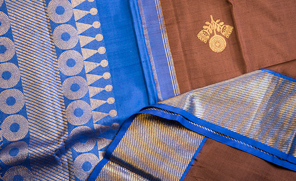 Snuff Brown & Blue Pure Kanchipuram Handloom Silk Saree