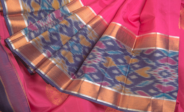 Candy Pink Pochampattu Silk Saree