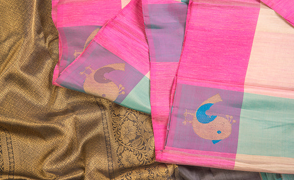 Multicoloured Blue Pure Kanchipuram Handloom Silk Saree