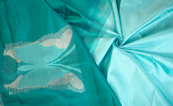 Aquamarine & Teal Green Kanchipuram Handloom Silk Saree