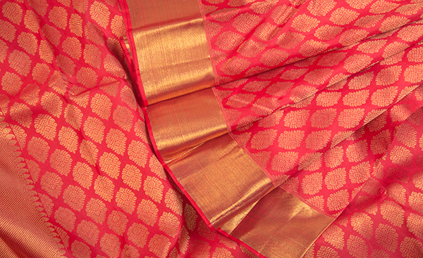 Dark Peach Kanchipuram Handloom SIlk Saree