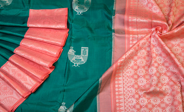 Green & Peach Pure Kanchipuram Handloom Silk Saree