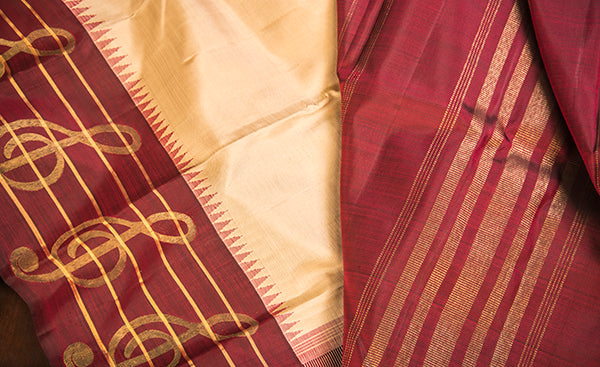 Cream & Maroon Pure Kanchipuram Handloom Silk Saree
