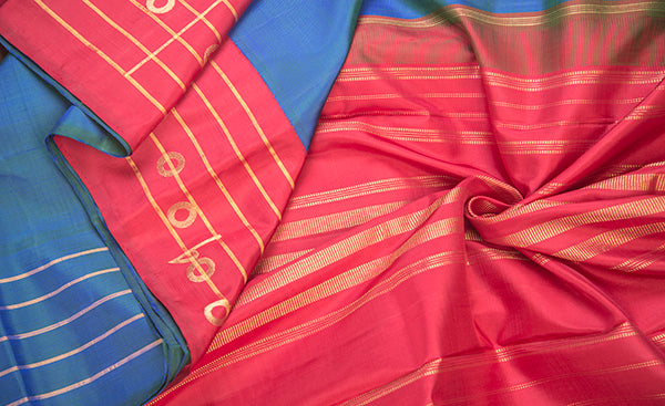 Blue & Red Pure Kanchipuram Handloom Silk Saree