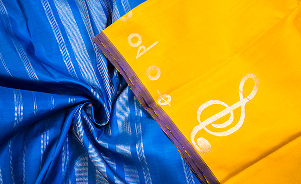 Yellow & Blue Pure Kanchipuram Handloom Silk Saree