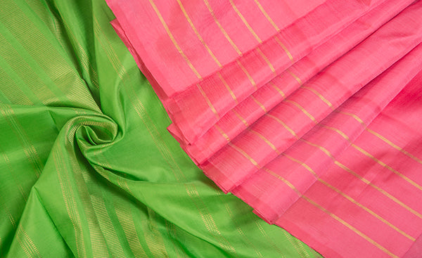 Pink & Green Pure Kanchipuram Handloom Silk Saree