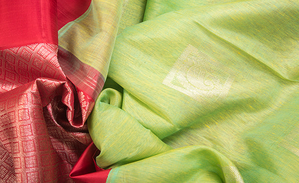 Lime Green & Candy Pink Linen Kanchipuram Saree
