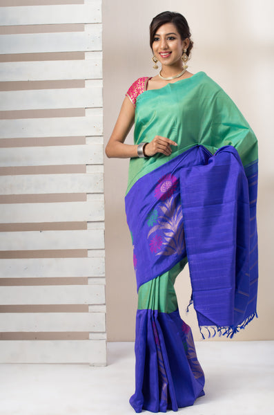 Sea Green & Blue Pure Kanchipuram Handloom Silk Saree With Pure Zari