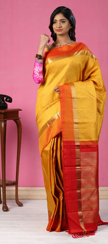 Yellow, Orange & Red Pure Kanchipuram Handloom Silk Silk Saree With Pure Zari