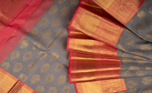 Grey & Peach-Pink Pure Kanchipuram Handloom Silk Saree With 1G Zari