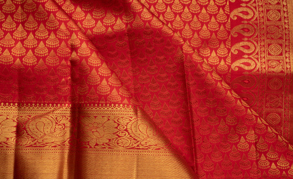 Red Bridal Pure Kanchipuram Handloom Silk Saree With Pure Zari