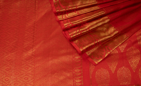Red Pure Kanchipuram Handloom Silk Saree With 1G Zari