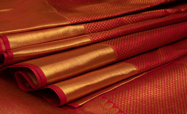 Red Pure Kanchipuram Handloom Bridal Silk Saree With 1G Zari