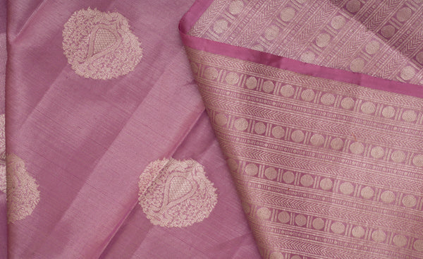 Lavendar Pure Kanchipuram Handloom Bridal Silk Saree With 1G Zari
