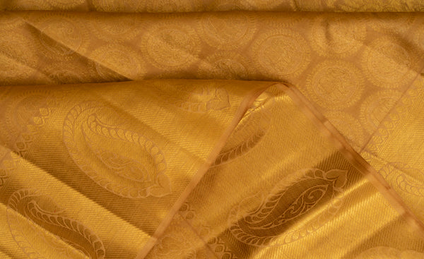 Muted Ochre Pure Kanchipuram Handloom Bridal Silk Saree With Pure Zari