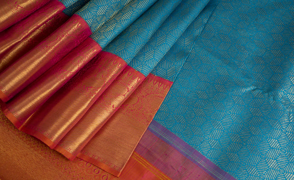 Sky Blue & Pink Pure Kanchipuram Handloom Bridal Silk Saree With 1G Zari