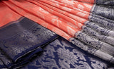 Peach & Navy Blue Pure Kanchipuram Handloom Bridal Silk Saree With 1G Zari