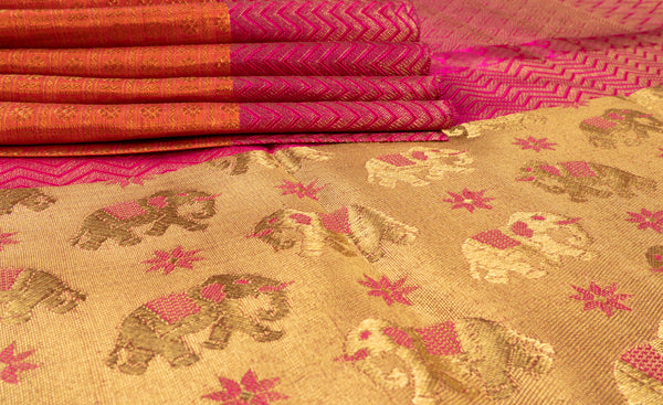 Beige, Pink & Orange Pure Kanchipuram Handloom Bridal Silk Saree With Pure Zari