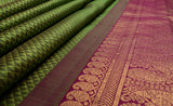 Mint Green & Purple Pure Kanchipuram Handloom Bridal Silk Saree With Pure Zari