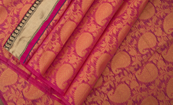 Dark Pink Woven Supernet Saree