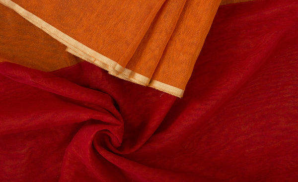 Orange & Maroon Jute Silk Saree