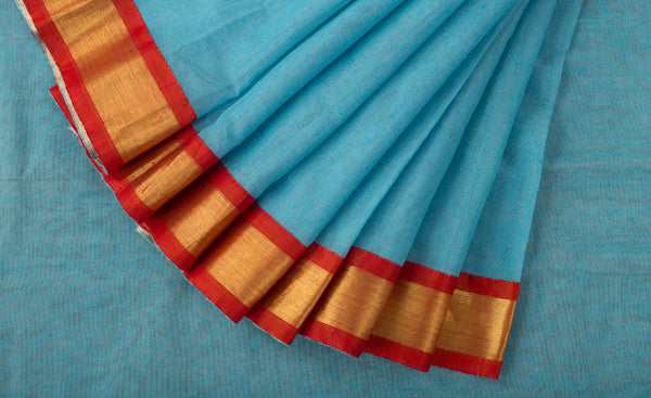 Sky Blue Jute Silk Saree