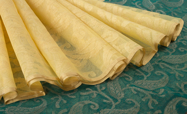 Cream & Green Jute Silk Saree