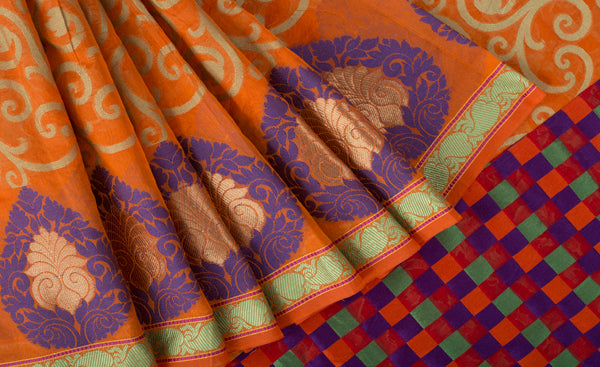 Orange Supernet Saree