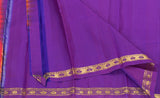 Bright Pink & Purple Pure Kanchipuram Handloom Silk Saree With Half-fine Zari
