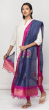 Steel Grey & Dark Pink Kora Silk Dupatta