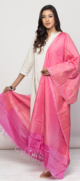 Light Pink & Dark Pink Pure Silk Dupatta
