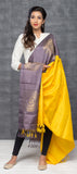 Yellow & Mauve Pure Silk Dupatta