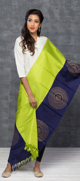 Lime Green & Navy Blue Pure Silk Dupatta