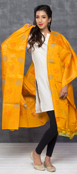 Mango Yellow Kora Silk Dupatta