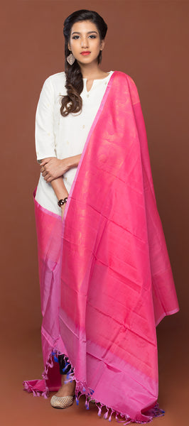Hot Pink Pure Silk Dupatta