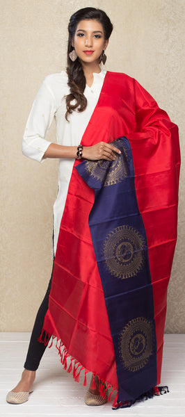 Red & Navy Blue Pure Silk Dupatta