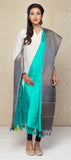 Turquoise Blue & Grey Lime Green & Navy Blue Pure Silk Dupatta