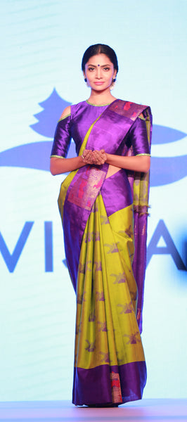 Vista: Yellow & Purple Pure Kanchipuram Handloom Silk Saree