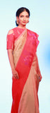 Vista: Peach & Red Pure Kanchipuram Handloom Silk Saree