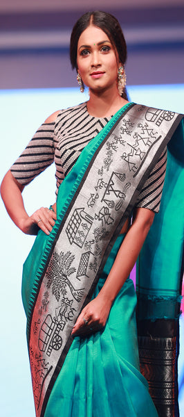 Vista: Jungle Green Pure Kanchipuram Handloom Silk Saree