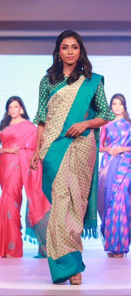 Corporate: Beige & Green Pure Kanchipuram Handloom Silk Saree