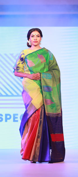Spectra: Multicoloured Pure Kanchipuram Handloom Silk Saree