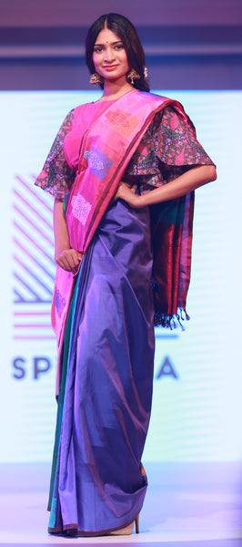 Purple, Pink & Blue Pure Kanchipuram Handloom Silk Saree