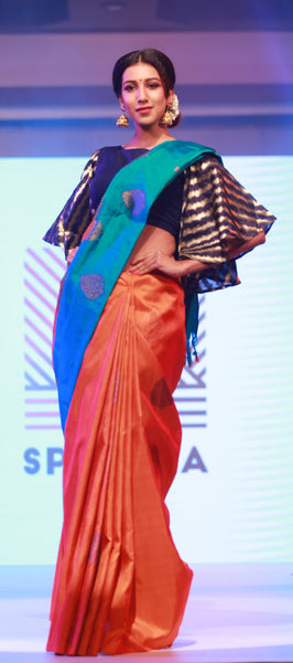Spectra: Orange & Teal Green Pure Kanchipuram Handloom Silk Saree