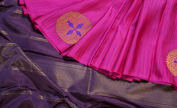 Pink and Purple Pure Kanchipuram Handloom Silk Saree
