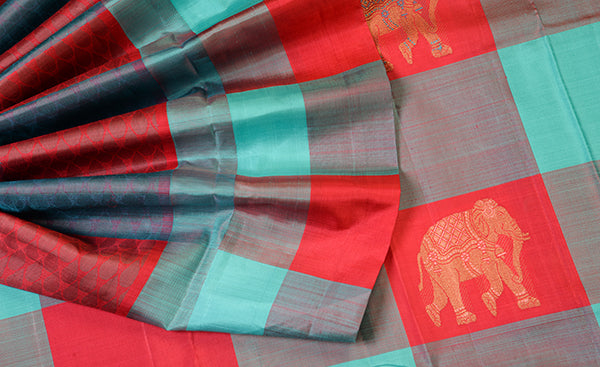 Turquoise and Peach Pure Kanchipuram Handloom Silk Saree