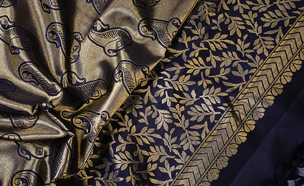 Dark Blue Pure Kanchipuram Handloom Silk Saree